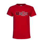 Youth Red T Shirt-Red Wolf Head w/A State