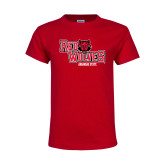 Youth Red T Shirt-Red Wolves Stacked Head Centered