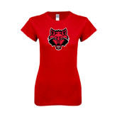 Next Level Ladies SoftStyle Junior Fitted Red Tee-Red Wolf Head