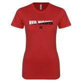 Next Level Ladies SoftStyle Junior Fitted Red Tee-Red Wolves Two Tone