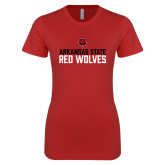 Next Level Ladies SoftStyle Junior Fitted Red Tee-Arkansas State Red Wolves Stacked Block