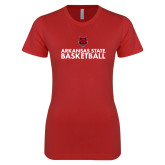 Next Level Ladies SoftStyle Junior Fitted Red Tee-Basketball Stacked Text