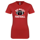 Next Level Ladies SoftStyle Junior Fitted Red Tee-Football Distressed Ball