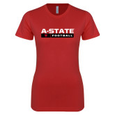 Next Level Ladies SoftStyle Junior Fitted Red Tee-Football Bar