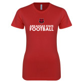 Next Level Ladies SoftStyle Junior Fitted Red Tee-Football Stacked Text