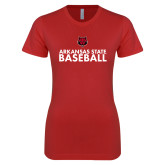Next Level Ladies SoftStyle Junior Fitted Red Tee-Baseball Stacked Text