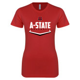 Next Level Ladies SoftStyle Junior Fitted Red Tee-Baseball Abstract Plate