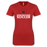 Next Level Ladies SoftStyle Junior Fitted Red Tee-Soccer Stacked Text