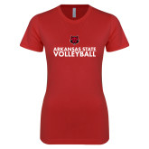 Next Level Ladies SoftStyle Junior Fitted Red Tee-Volleyball Stacked Text