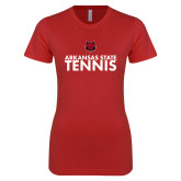 Next Level Ladies SoftStyle Junior Fitted Red Tee-Tennis Stacked Text