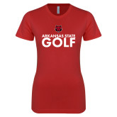 Next Level Ladies SoftStyle Junior Fitted Red Tee-Golf Stacked Text