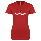 Next Level Ladies SoftStyle Junior Fitted Red Tee-Cross Country Stacked Text