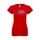 Next Level Ladies SoftStyle Junior Fitted Red Tee-Red Wolf Head w/A State