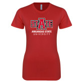 Next Level Ladies SoftStyle Junior Fitted Red Tee-University Mark