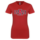Next Level Ladies SoftStyle Junior Fitted Red Tee-A State