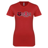 Next Level Ladies SoftStyle Junior Fitted Red Tee-A State w Red Wolf