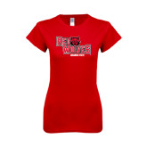 Next Level Ladies SoftStyle Junior Fitted Red Tee-Red Wolves Stacked Head Centered