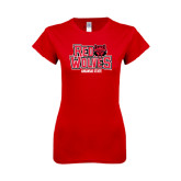 Next Level Ladies SoftStyle Junior Fitted Red Tee-Red Wolves Stacked Head on Right