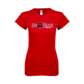 Next Level Ladies SoftStyle Junior Fitted Red Tee-Red Wolves w/Red Wolf Head Centered