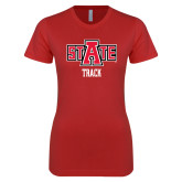 Next Level Ladies SoftStyle Junior Fitted Red Tee-Track