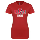 Next Level Ladies SoftStyle Junior Fitted Red Tee-Bowling