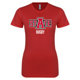 Next Level Ladies SoftStyle Junior Fitted Red Tee-Rugby