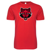 Next Level SoftStyle Red T Shirt-Red Wolf Head