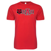 Next Level SoftStyle Red T Shirt-Red Wolf Head w/A State