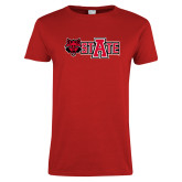 Ladies Red T Shirt-Red Wolf Head w/A State