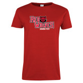 Ladies Red T Shirt-Red Wolves Stacked Head Centered
