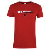Ladies Red T Shirt-Red Wolves Two Tone