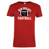 Ladies Red T Shirt-Football Distressed Ball
