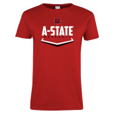 Ladies Red T Shirt-Baseball Abstract Plate