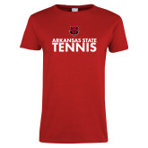 Ladies Red T Shirt-Tennis Stacked Text