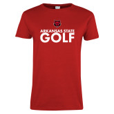 Ladies Red T Shirt-Golf Stacked Text