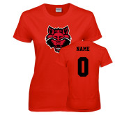 Ladies Red T Shirt-Red Wolf Head, Custom Tee w/ Name and #