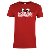 Ladies Red T Shirt-Camellia Bowl Helmets Design