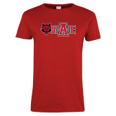 Ladies Red T Shirt-A State w Red Wolf