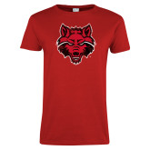 Ladies Red T Shirt-Red Wolf Head Distressed