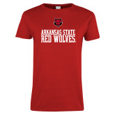 Ladies Red T Shirt-Arkansas Red Wolves Stacked w Wolf Head