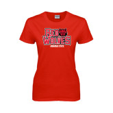 Ladies Red T Shirt-Red Wolves Stacked Head on Right