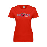Ladies Red T Shirt-Red Wolves w/Red Wolf Head Centered