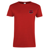 Ladies Red T Shirt-Red Wolf Head