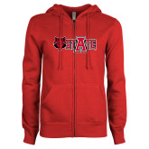 ENZA Ladies Red Fleece Full Zip Hoodie-Red Wolf Head w/A State