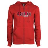 ENZA Ladies Red Fleece Full Zip Hoodie-Red Wolf Head w/A State