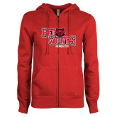 ENZA Ladies Red Fleece Full Zip Hoodie-Red Wolves Stacked Head Centered