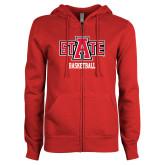 ENZA Ladies Red Fleece Full Zip Hoodie-Basketball