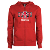 ENZA Ladies Red Fleece Full Zip Hoodie-Volleyball