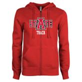 ENZA Ladies Red Fleece Full Zip Hoodie-Track