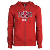 ENZA Ladies Red Fleece Full Zip Hoodie-Rugby